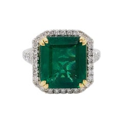 Estate Emerald Octagon and White Diamond Cocktail Ring in Platinum and 18k