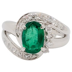 Estate Emerald Oval and White Diamond Cocktail Ring