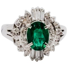 Estate Emerald Oval and White Diamond Cocktail Ring in Platinum