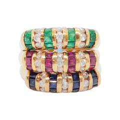 Estate Emerald, Ruby, Blue Sapphire, and Diamond Bands in 18k Yellow Gold