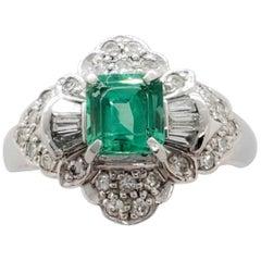 Estate Emerald Square and White Diamond Ring in Platinum