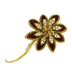 Estate Enamel 2 Carat Diamond Gold Flower Brooch