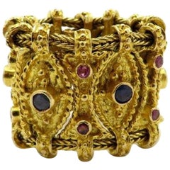 Estate Etruscan Style Ruby and Sapphire 18 Karat Yellow Gold Eternity Band Ring