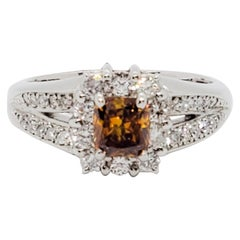 Estate Fancy Deep Brownish Yellowish Orange Diamond Radiant Ring