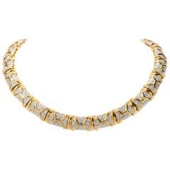 Estate Fancy Greek Key 15.84 Carat Diamond 18 Karat Gold Choker Necklace
