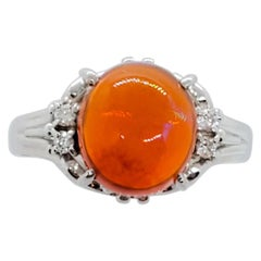 Estate Fire Opal and Diamond Ring in Platinum