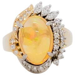 Estate Fire Opal Cabochon and White Diamond Dome Ring in 18 Karat Two-Tone Gold