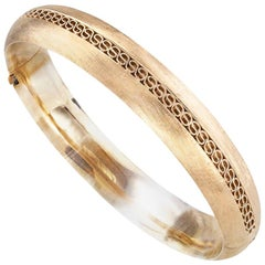 Estate Florentine Hinged Yellow Gold Bangle Bracelet