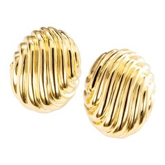 Estate Fluted Yellow Gold Clip Earrings
