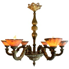 Estate French Art Deco Alabaster and Bronze Chandelier, circa 1920-1940