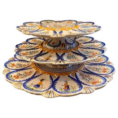 Estate French Faience Hand Painted Henriot Quimper 3-Tier Oyster Platter, 1940s