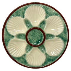 Estate French Faience Pottery Porcelain Oyster Plate by Longchamp, Circa 1930's