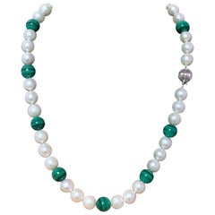 Estate Freshwater Pearl Malachite Necklace Certified