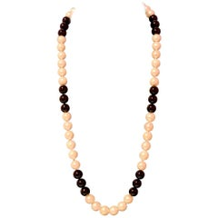 Estate Freshwater Pearl Onyx Necklace 14 Karat Gold Certified