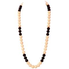 Estate Freshwater Pearl Onyx Necklace 14 Karat Gold Certified