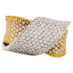 Estate Garavelli Design Pave Ring in 18k Two Tone Gold