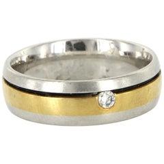Estate Gelin Abaci Platinum 18 Karat Yellow Gold Diamond Men's Wedding Band