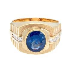 Gentleman's Blue Sapphire Diamond Gold Ring