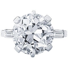 Estate GIA Art Deco Bucheron 5.90 Carat Old European Cut Diamond Ring