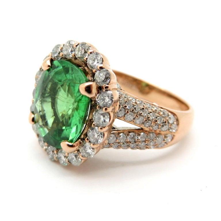 Estate Gia Cert Paraiba Green Tourmaline Cushion Halo Ring
