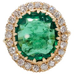 Estate GIA Emerald Oval and White Diamond Cocktail Ring
