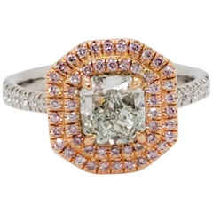 Estate GIA Fancy Green Diamond Radiant and Natural Pink Diamond Round Ring