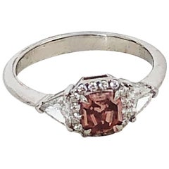 Estate GIA Fancy Red Diamond Square Radiant Ring in Platinum