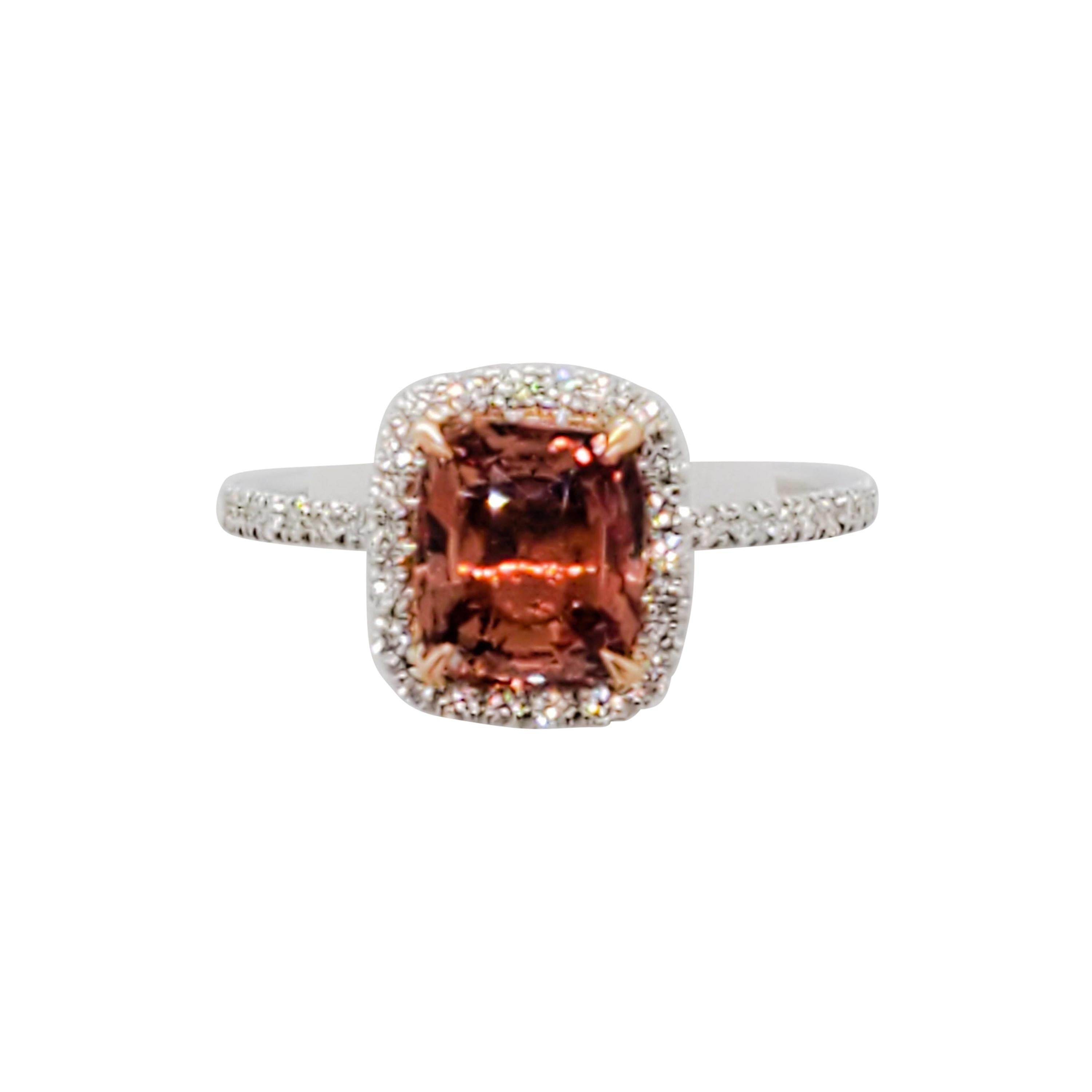 Estate GIA Heated Madagascar Padparadscha and Diamond Ring in 18k