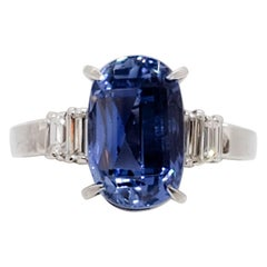 Estate GIA No Heat Sri Lanka Blue Sapphire Oval and White Diamond Cocktail Ring