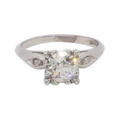 Estate GIA Old European K SI 2 Diamond Round Solitaire Ring in Platinum