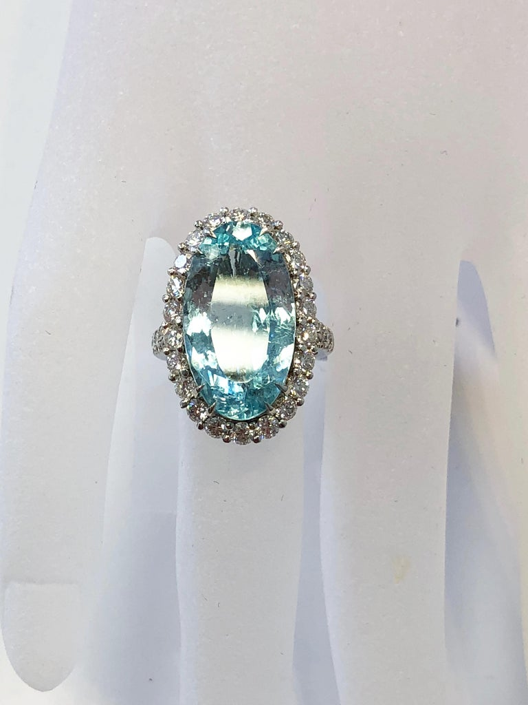 Estate Gia Paraiba Tourmaline Oval And White Diamond