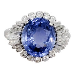 Estate GIA Sri Lanka Blue Sapphire and White Diamond Cocktail Ring in Platinum