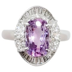 Estate GIA Sri Lanka Pinkish Purple Sapphire and Diamond Cocktail Ring