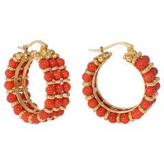 Estate Gold and Coral Bead Hoop Earrings, Italian