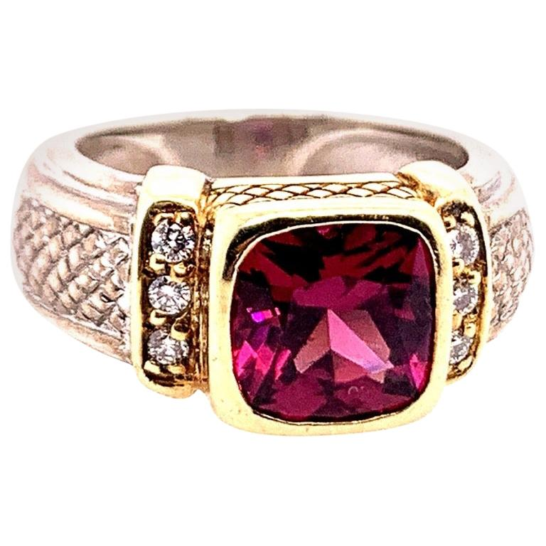 Estate Gold and Silver Natural Diamond and Cushion Grape Garnet Cocktail Ring For Sale