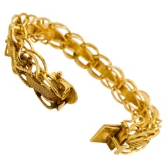 Estate Gold Bracelet 14 Karat Yellow Gold Braided Link Chain Bracelet, 14k Brac