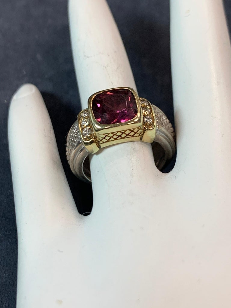 Modern Estate Gold and Silver Natural Diamond and Cushion Grape Garnet Cocktail Ring For Sale