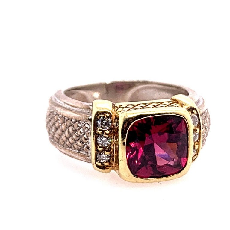 Cushion Cut Estate Gold and Silver Natural Diamond and Cushion Grape Garnet Cocktail Ring For Sale