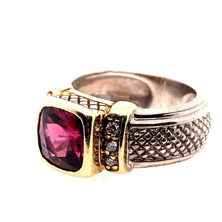 Women's or Men's Estate Gold and Silver Natural Diamond and Cushion Grape Garnet Cocktail Ring For Sale