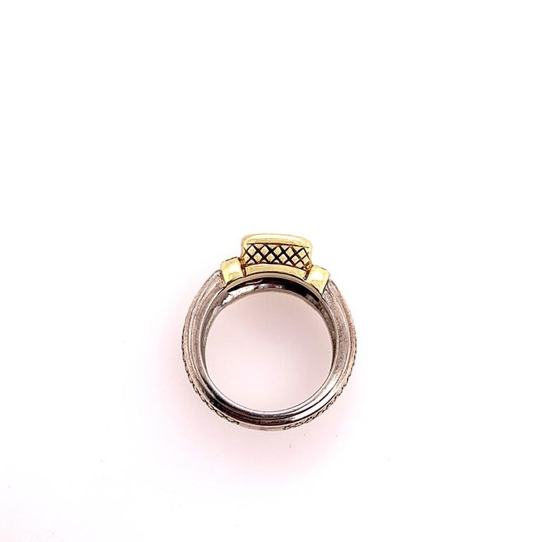 Estate Gold and Silver Natural Diamond and Cushion Grape Garnet Cocktail Ring For Sale 1