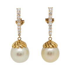 Estate Golden Pearl and White Diamond Dangle Earrings in 18k Yellow Gold
