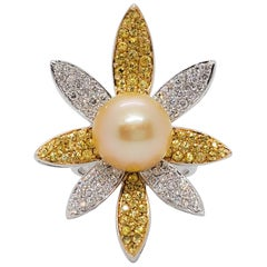 Estate Golden Pearl, Yellow Sapphire, and White Diamond Cocktail Ring