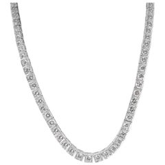 Estate Graduated Diamond Tennis Necklace in Platinum Necklace 11 Carat