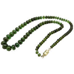 Estate Graduated Green Tourmaline Beaded Necklace