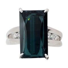 Estate Green Blue Tourmaline Emerald Cut and White Diamond Ring in Platinum