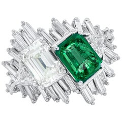 Estate Green Emerald and Diamond Ring