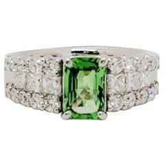 Estate Green Garnet Octagon and White Diamond Cocktail Ring in Platinum