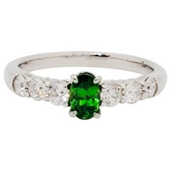Estate Green Garnet Oval and White Diamond Ring in Platinum