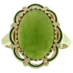 Estate Green Jade Enamel 10 Karat Yellow Gold Cocktail Ring