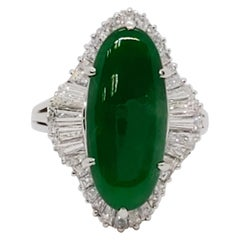 Estate Green Jade Oval and White Diamond Cocktail Ring in Platinum